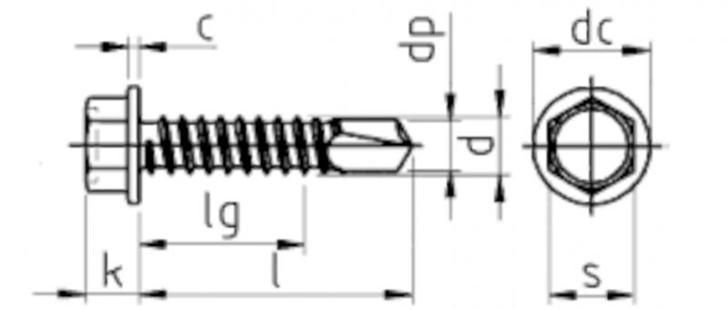 - 4,8x22 - Edelstahl A2 - 200 St/ück z.B. Aluminium Form K Bohrschrauben mit Sechskantkopf und Bund f/ür Weichmetalle Selbstschneidende Schnellbauschrauben V2A - D/´s Items/® DIN 7504