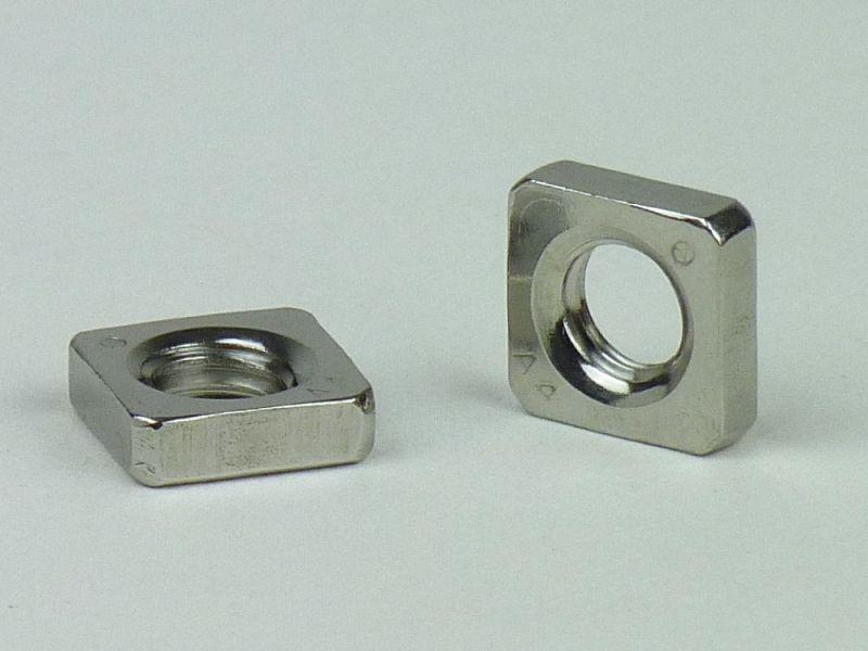 10x DIN 562 Vierkantmuttern M 6 A4 blank niedrige Form