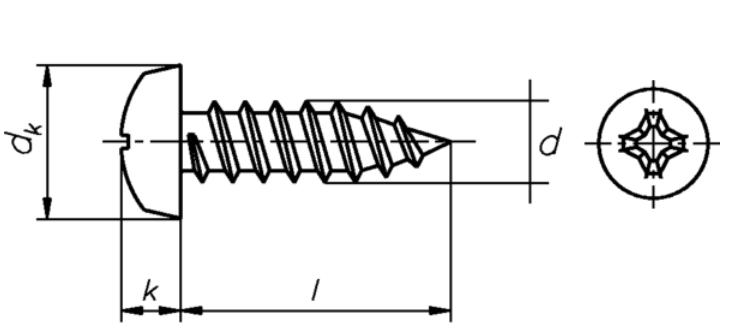 100 Linsen-Blechschrauben 4,2x25 mm schwarz verzinkt mit Bund Kreuzschlitz H