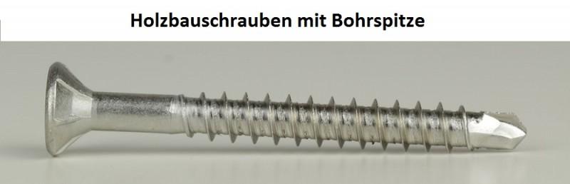 30 Edelstahl 4,5x50 mm Spanplattenschrauben Holzschrauben Tellerkopf Bohrspitze