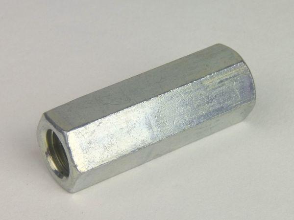 Sechskant-Verbindungsmuffe Stahl galvanisch verzinkt M 6 x 20 SW 10 gal Zn S
